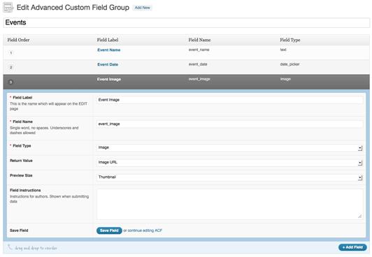 advanced custom fields - settings