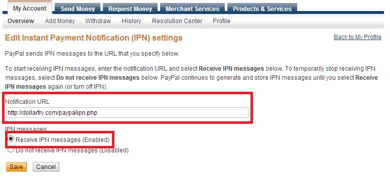 IPN Settings  paypal