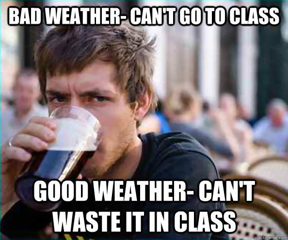 lazy senior bad weather