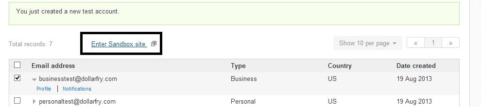 paypal sandbox login