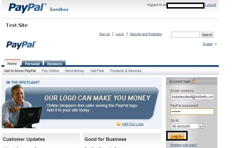 Sandbox login