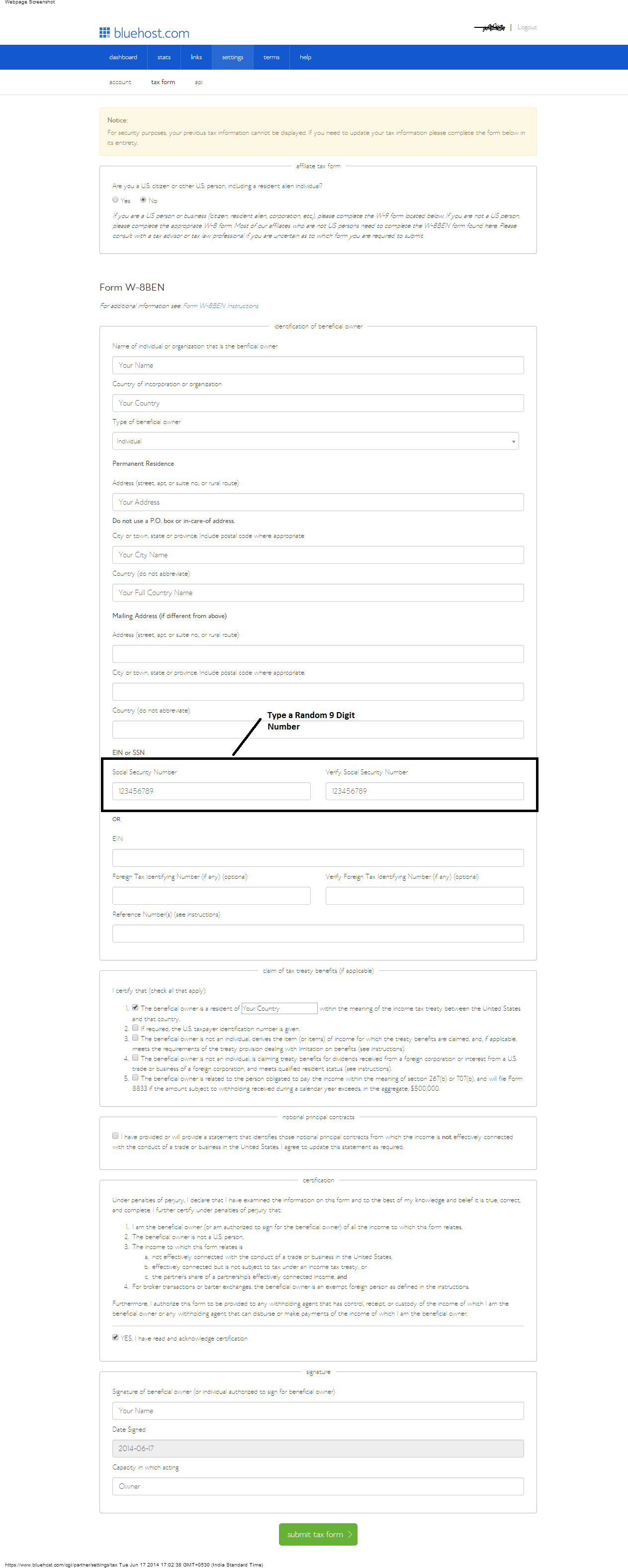 How to fill w 8ben tax form for affiliate marketers click on image to enlarge falaconquin