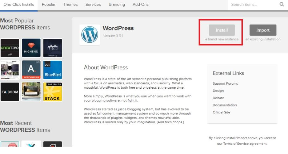 step 2 clicking install button wordpress bluehost