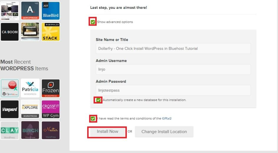 step 4 setting wordpress user name and password and installing
